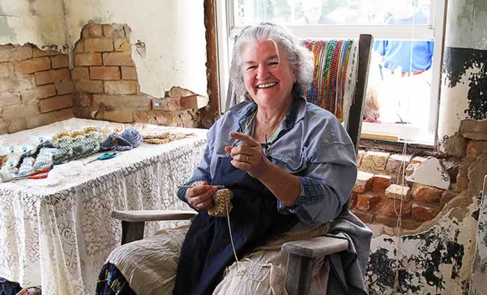 Ann Touchton demonstrating crocheting